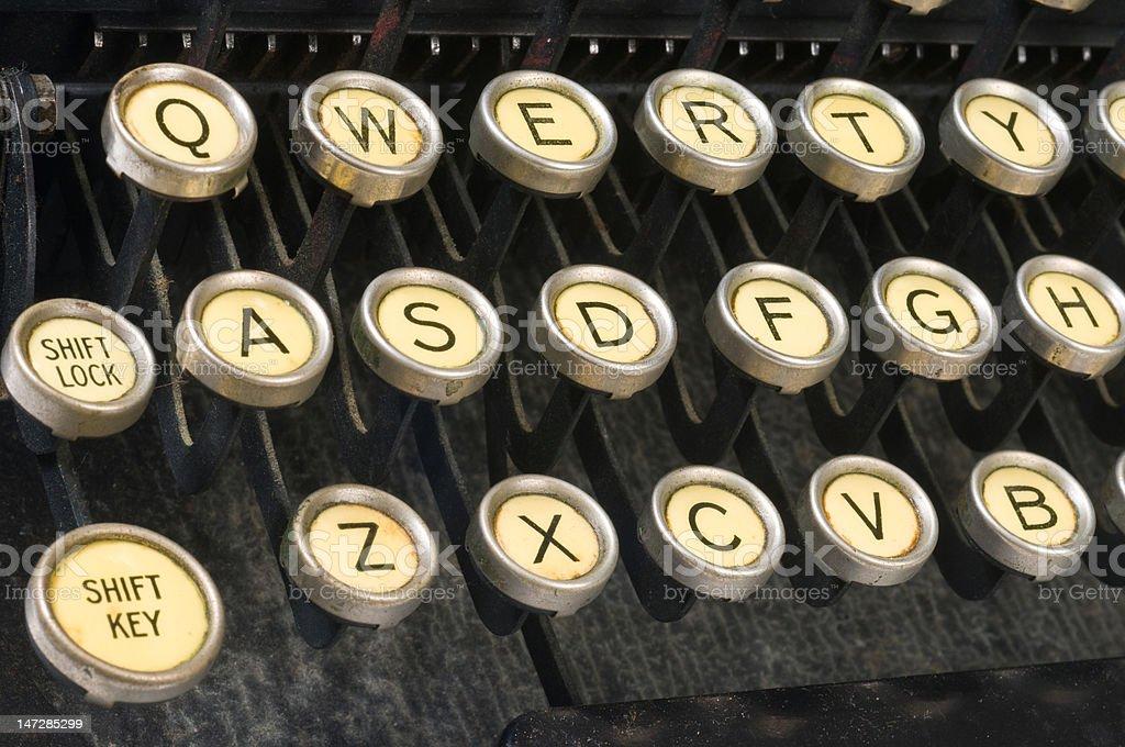 Vintage typewriter closeup QWERTY keys horizontal stock photo