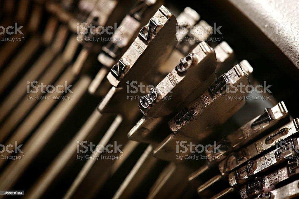 Vintage typewriter detail stock photo