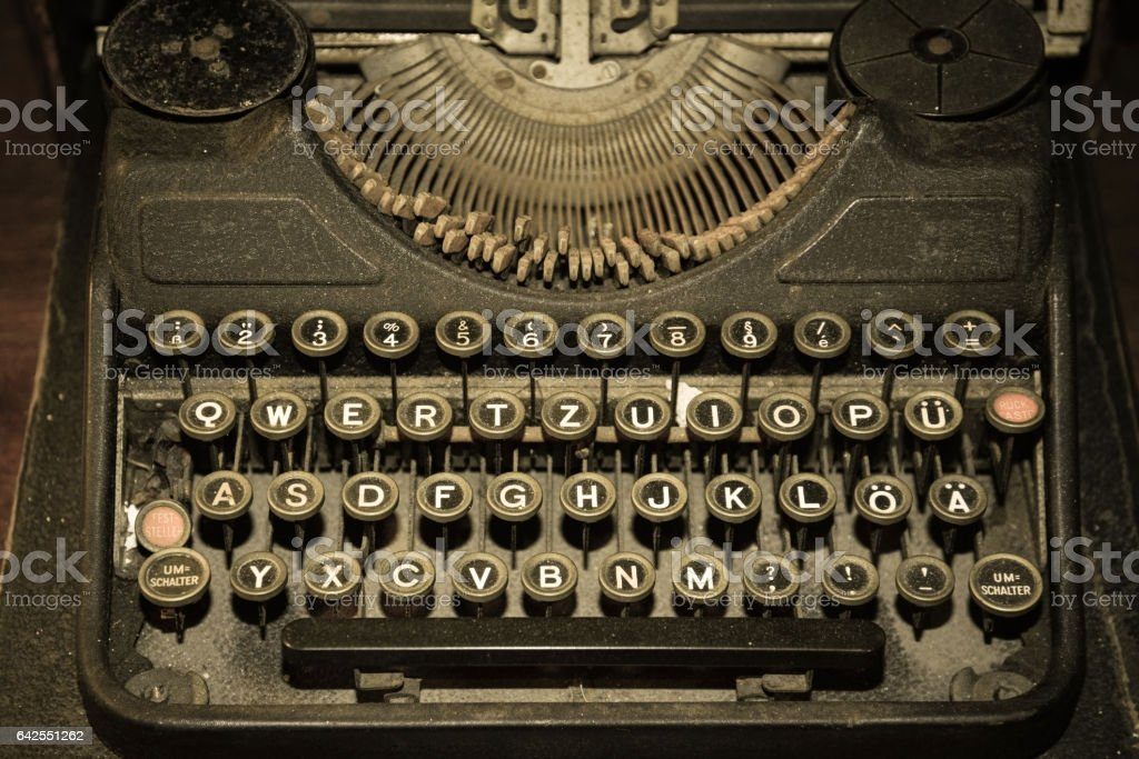 Vintage typewriter from top view stock photo