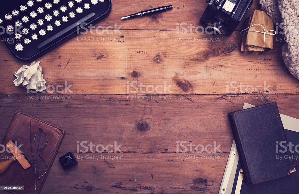 vintage typewriter hero header stock photo