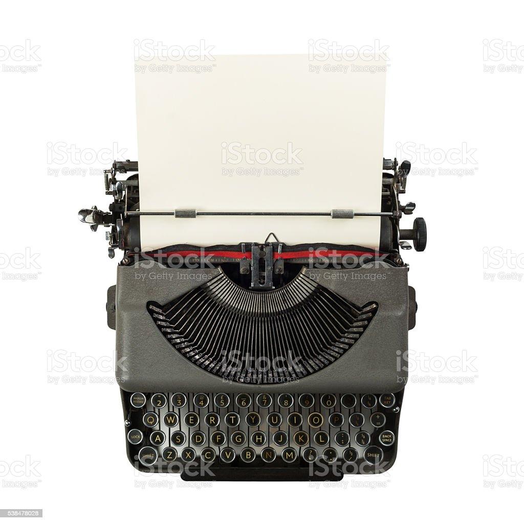 vintage typewriter isolated on white background stock photo