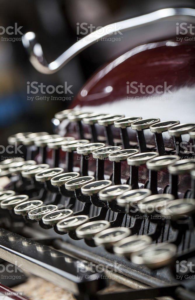 Vintage typewriter keys close up shot royalty-free stock photo