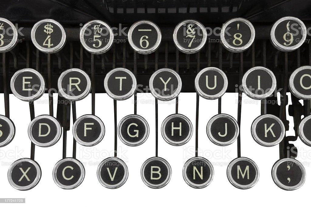 Vintage Typewriter Keys Isolated royalty-free stock photo
