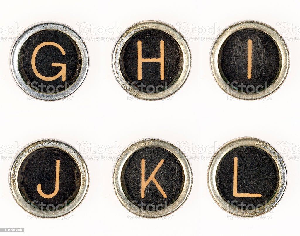 G-H-I-J-K-L vintage typewriter letters royalty-free stock photo