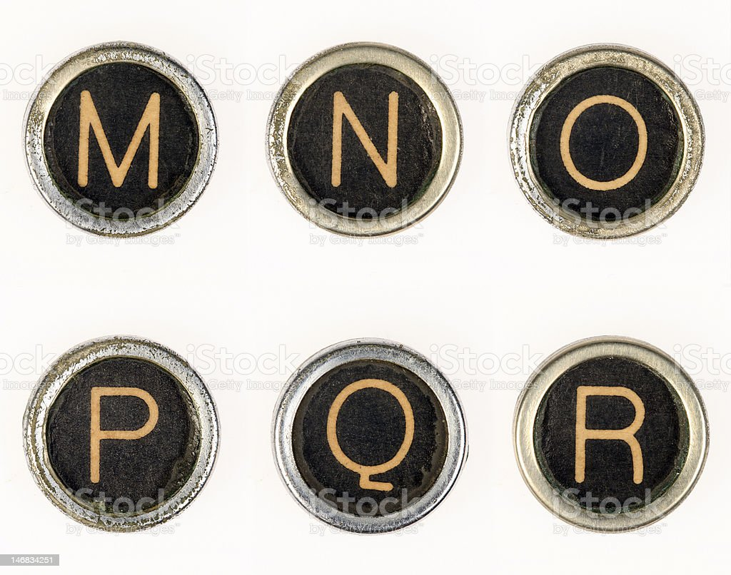 M-N-O-P-Q-R vintage typewriter letters royalty-free stock photo