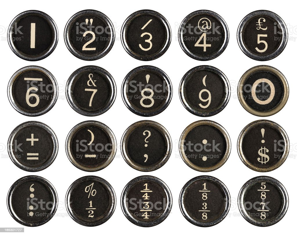 Vintage Typewriter Number Keys stock photo
