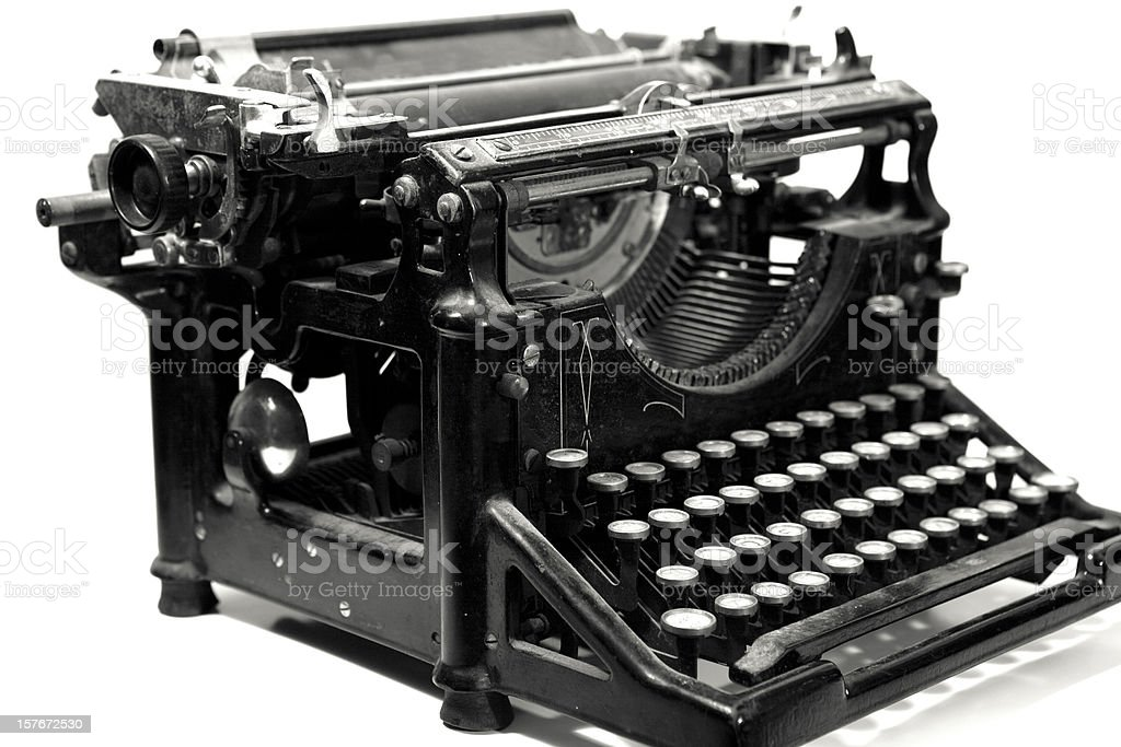Vintage Typewriter on White stock photo