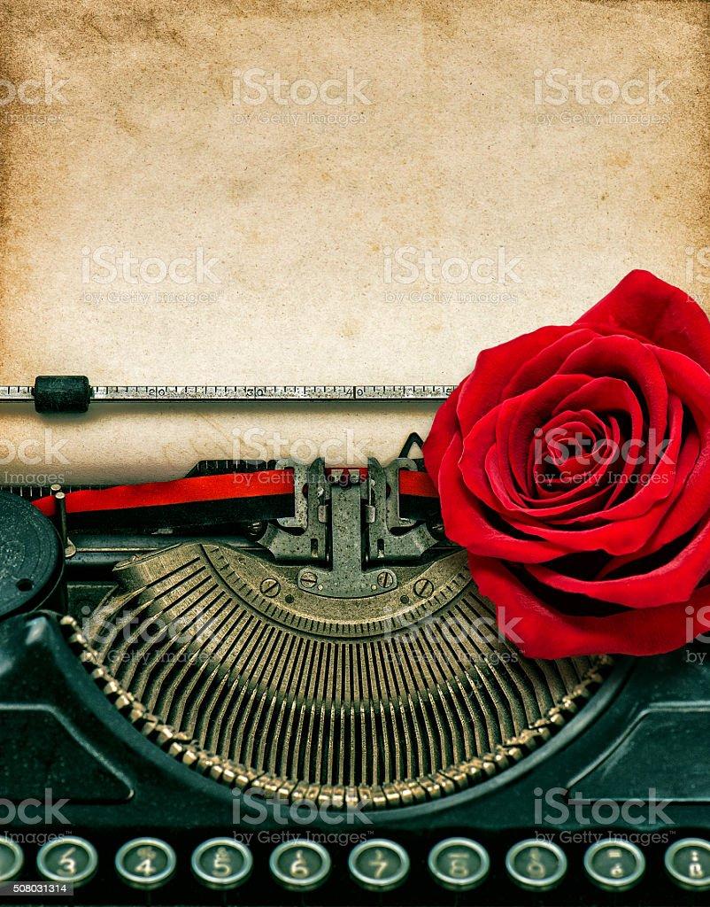 Vintage typewriter red rose flower. Grungy paper stock photo