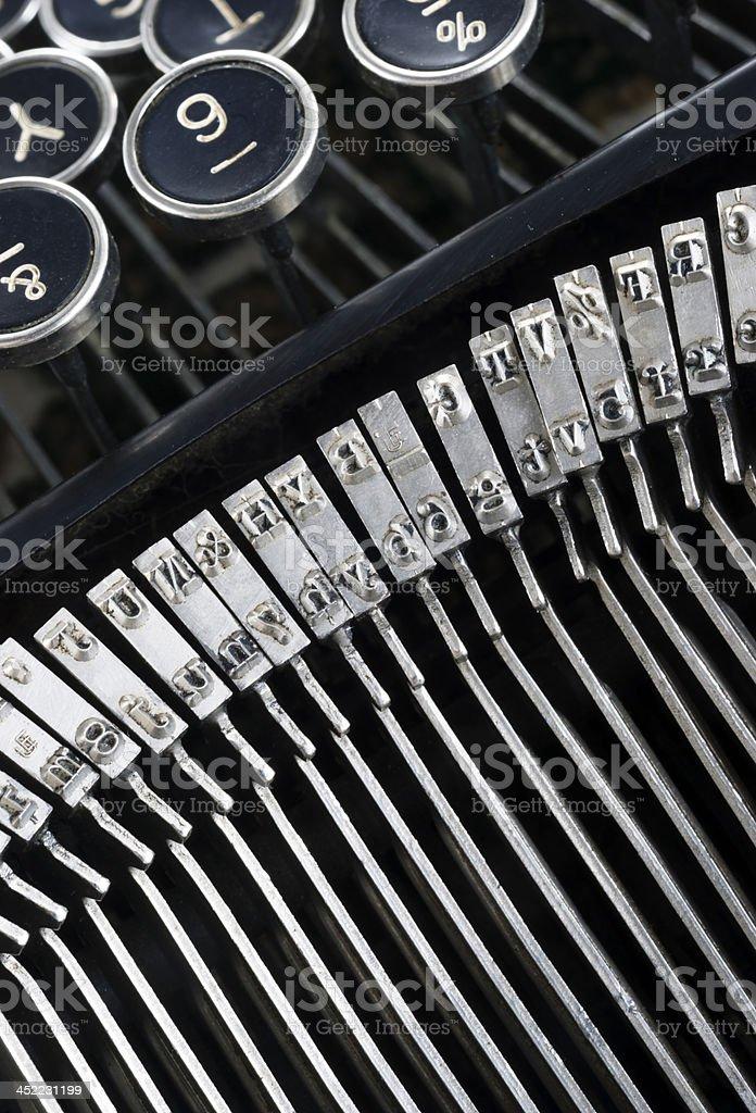 Vintage Typewriter Type Bars Characters Writing Machine Author Tools royalty-free stock photo