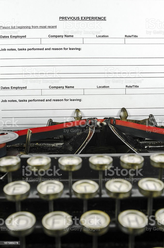 Vintage Typewriter With Previous Experience Form royalty-free stock photo