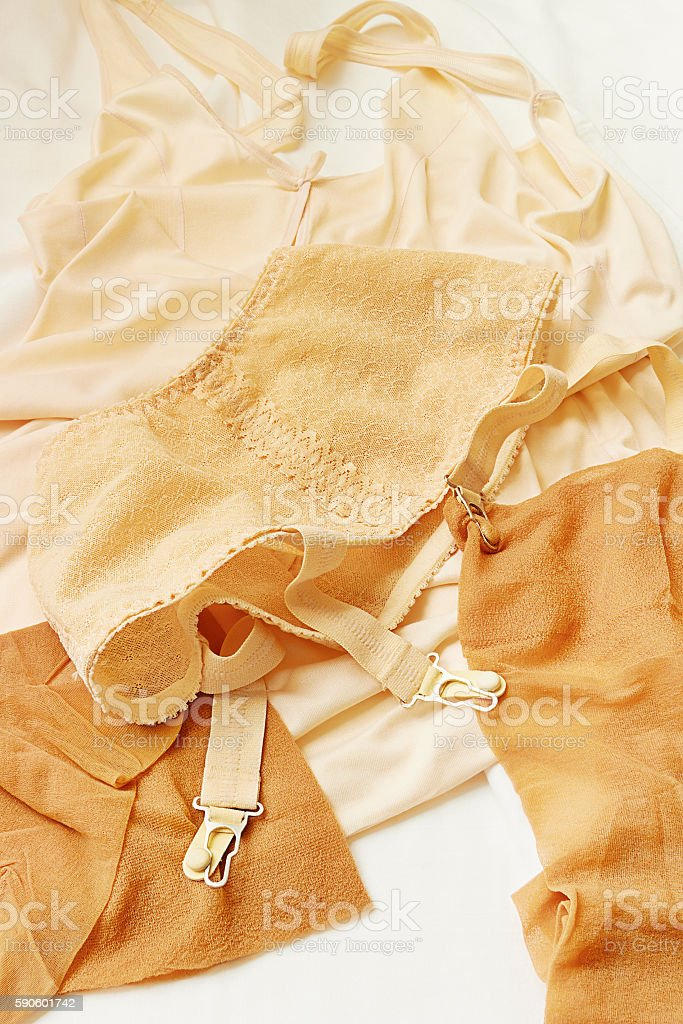 Vintage underwear of a girl stock photo