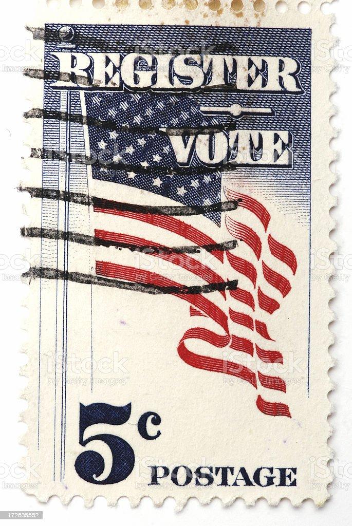 Vintage U.S. 5 cent stamp - vote stock photo