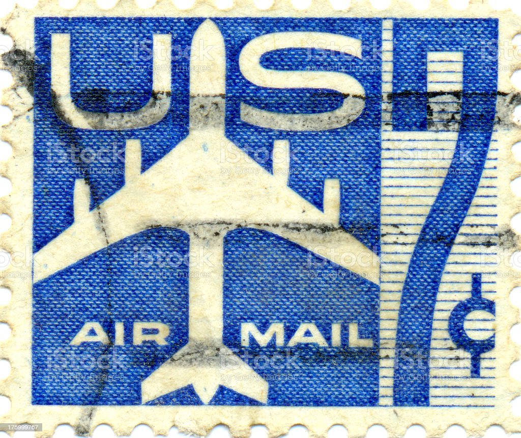 Vintage US Air Mail Postal Stamp royalty-free stock photo