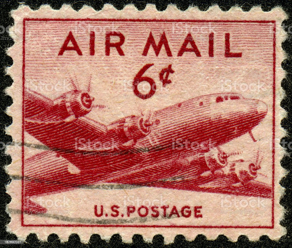 Vintage US Air Mail Stamp royalty-free stock photo