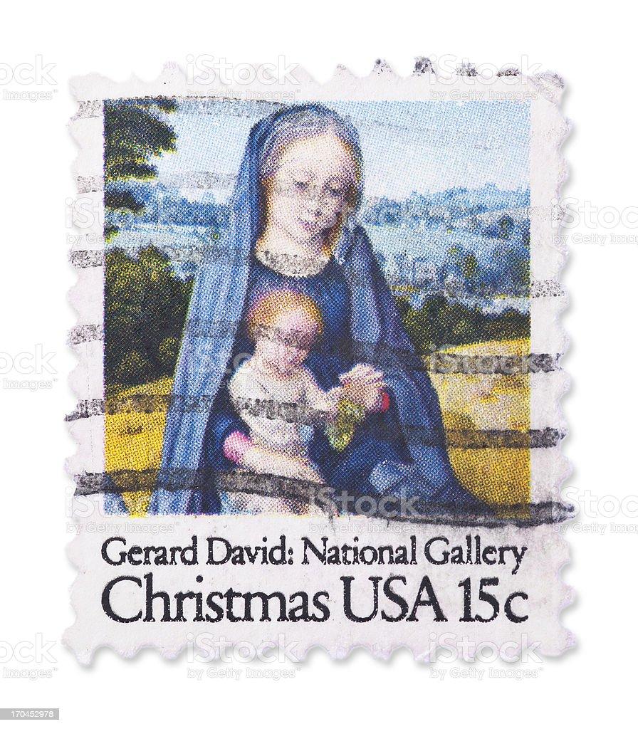 Vintage US Christmas stamp royalty-free stock photo