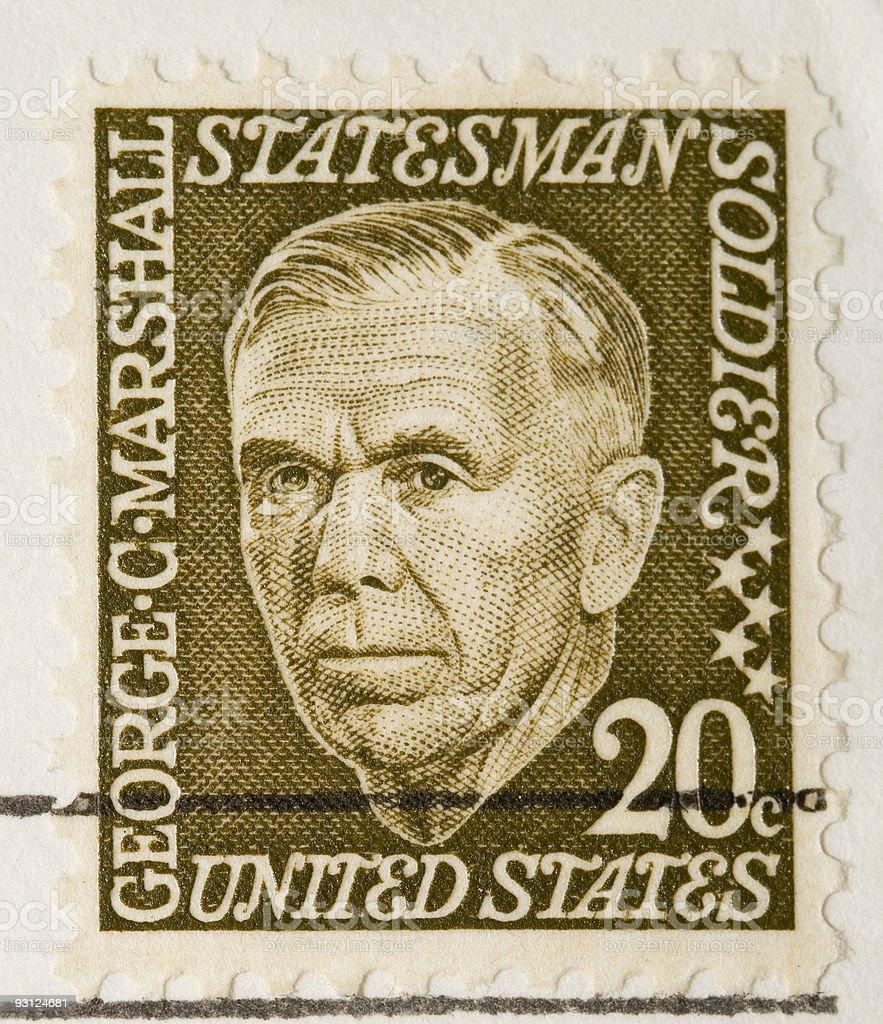 Vintage US Stamp 1967 George C Marshall stock photo