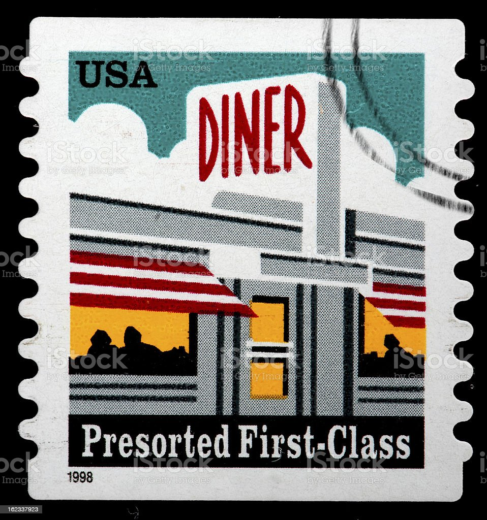 Vintage US Stamp Commemorating the American Diner royalty-free stock photo