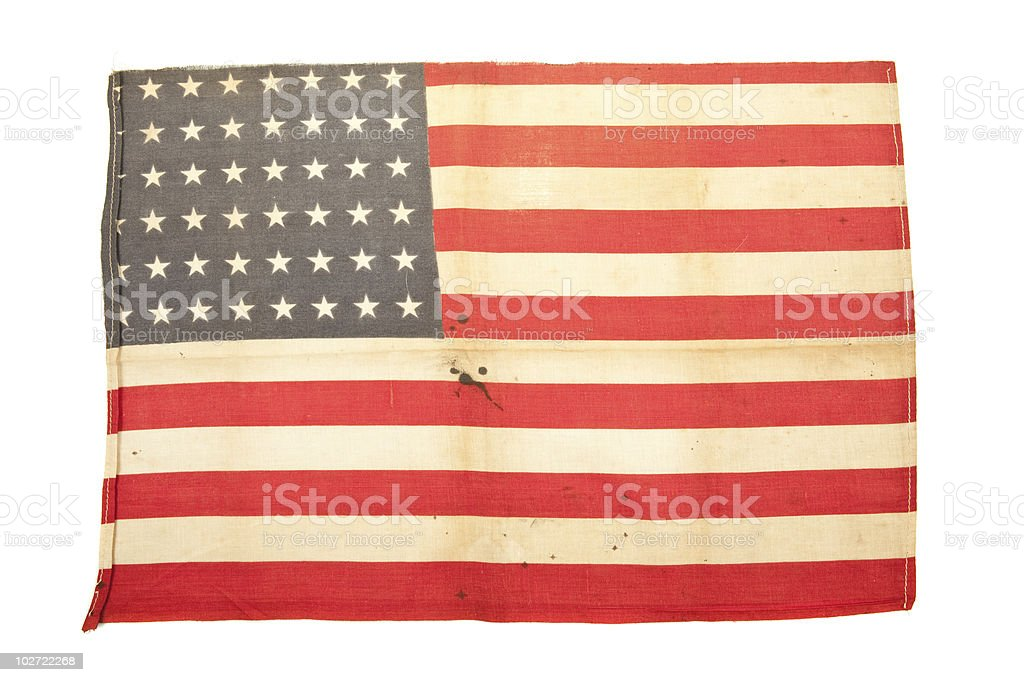 Vintage usa flag on isolated white royalty-free stock photo