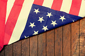 Vintage USA Flag on wood background