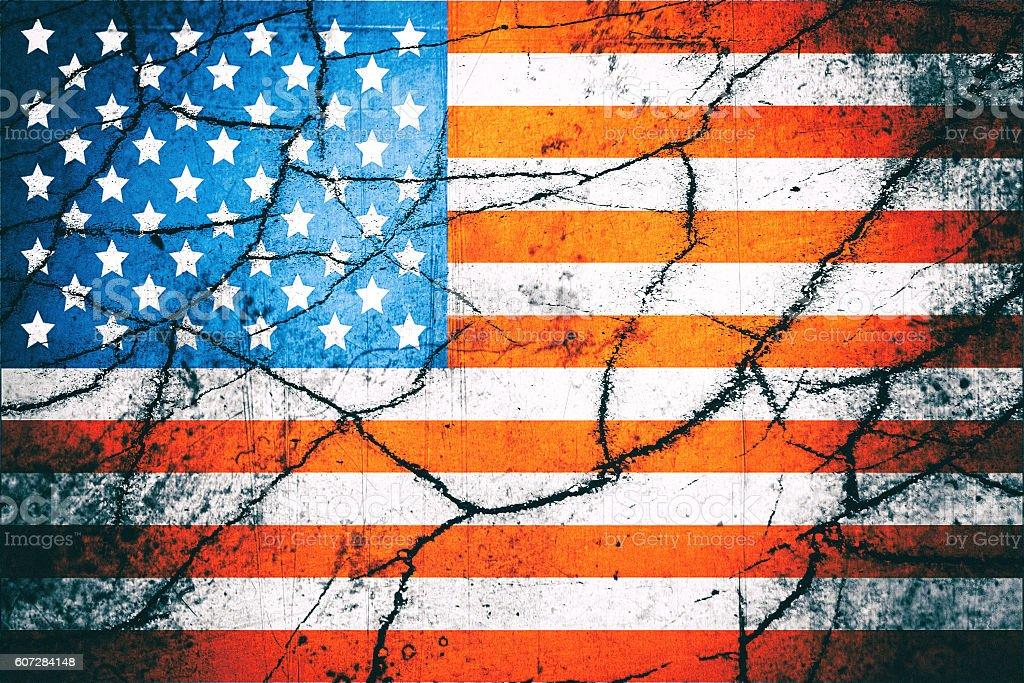 Vintage USA flag with cracks stock photo