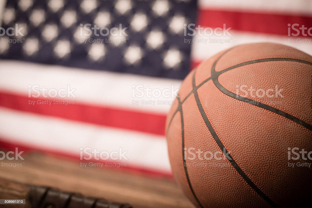 Vintage Used Basketball with American Flag stock photo
