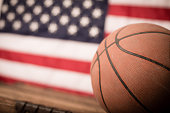 Vintage Used Basketball with American Flag