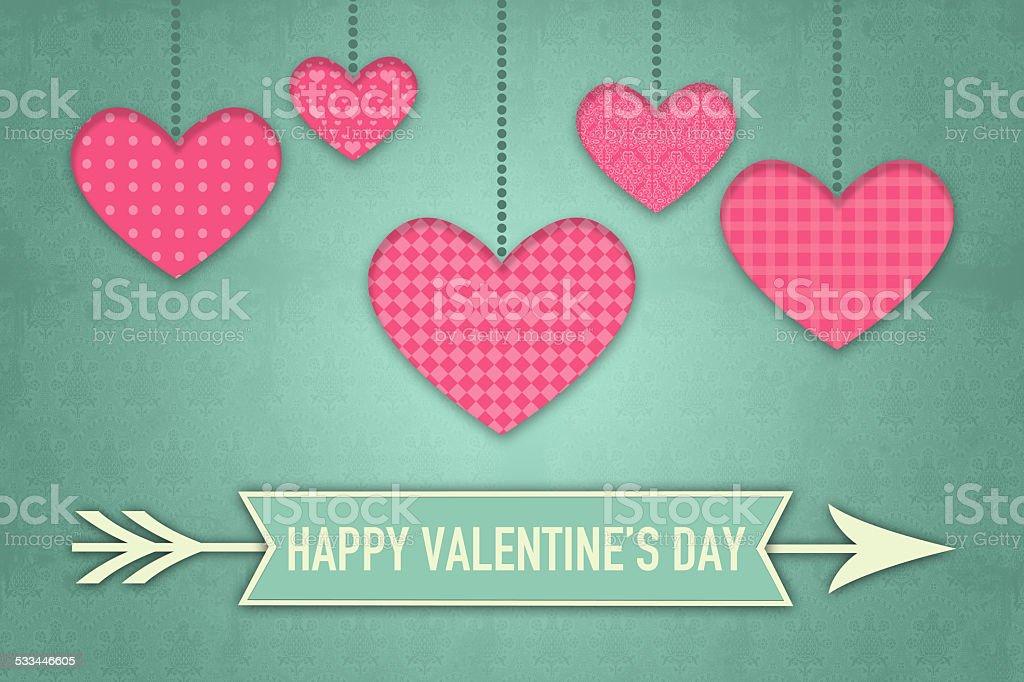 Vintage Valentines Greeting Card stock photo
