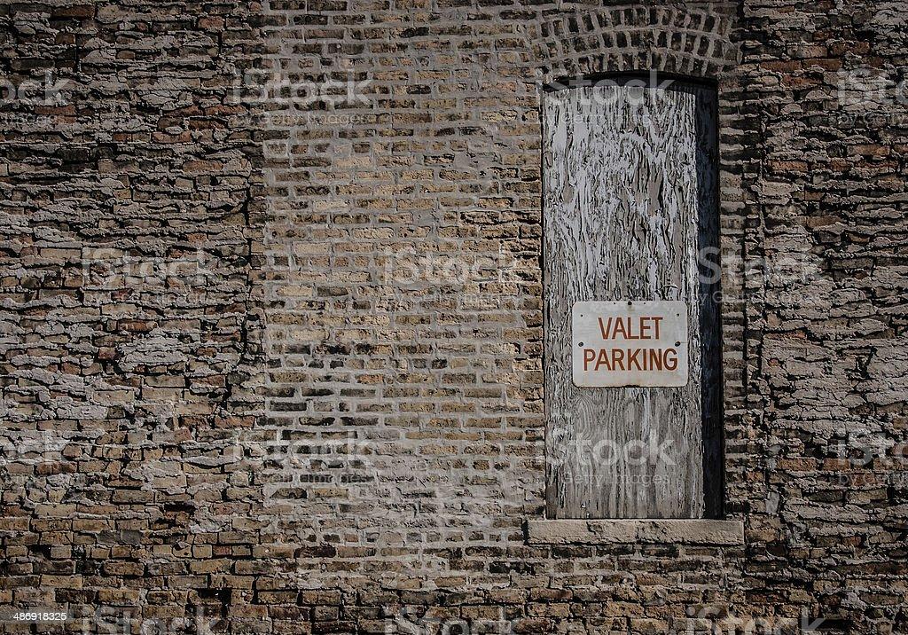 Vintage 'Valet Parking' sign stock photo