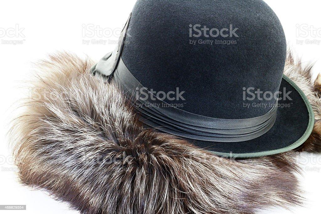 Vintage velour hat on a silver fox fur stock photo