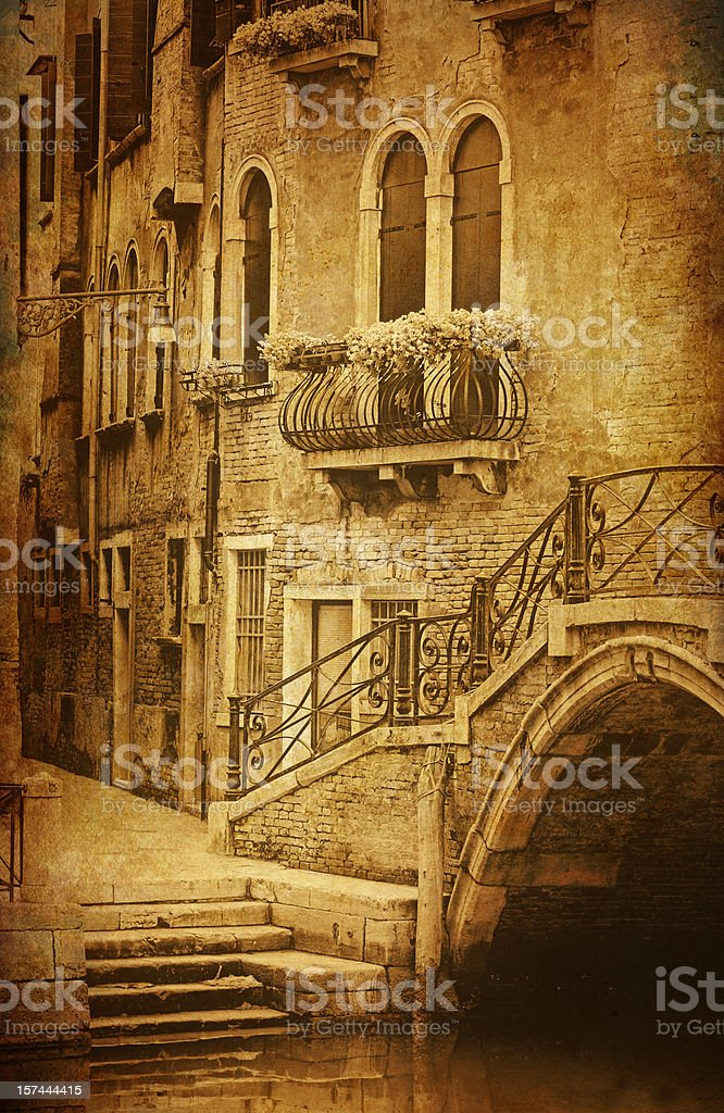 Vintage Venice - aged photo of a venetian street royalty-free stock photo