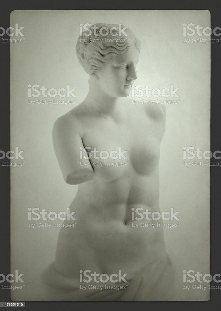 Vintage Venus de Milo on grey stock photo