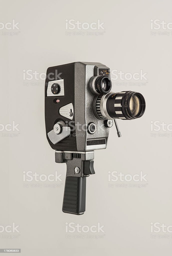 Vintage video camera isolated on white stock photo