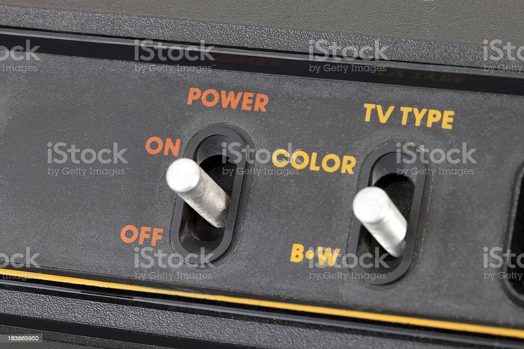 Vintage Video Game Switches Close Up stock photo