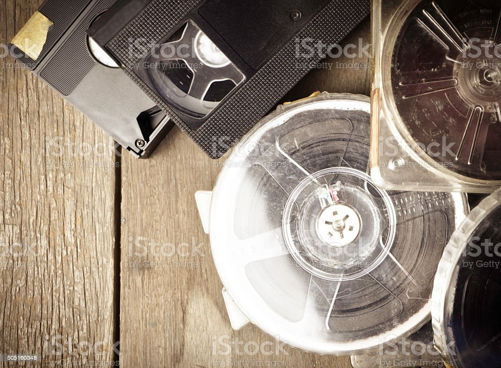 Vintage Video Tape and Film Strip background stock photo