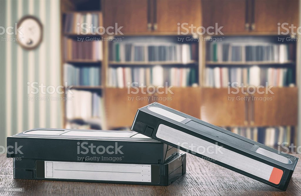 Vintage video tapes stock photo
