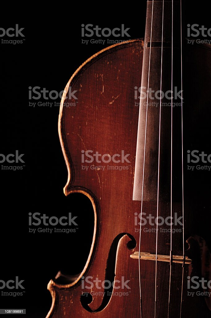 Vintage Violin on Black Background royalty-free stock photo