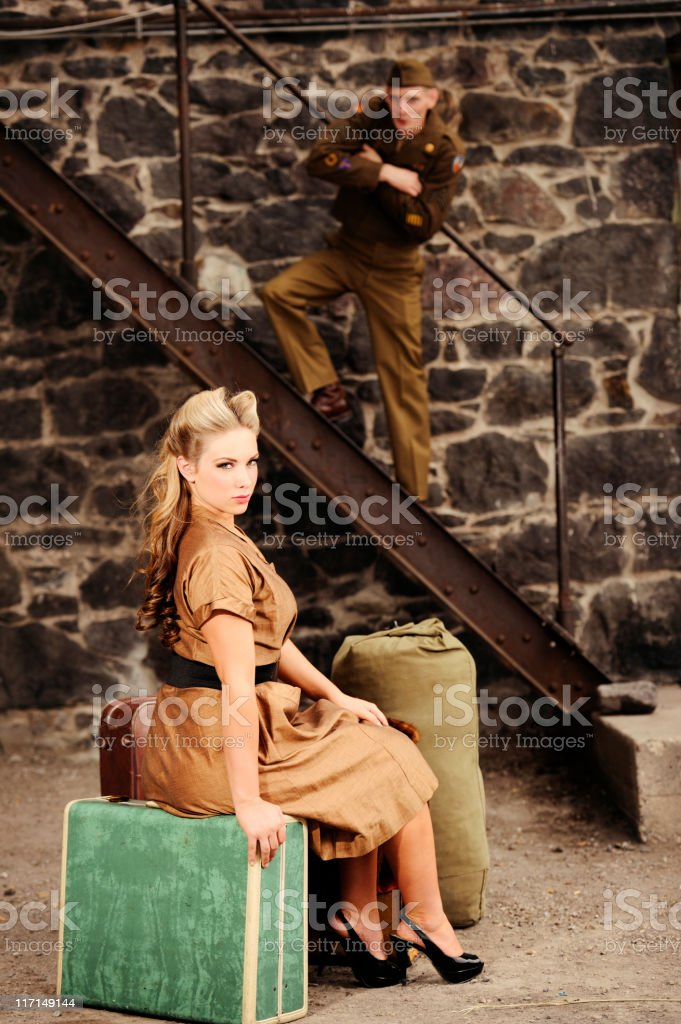 Vintage Vixen And A Whistling WWII Soldier stock photo