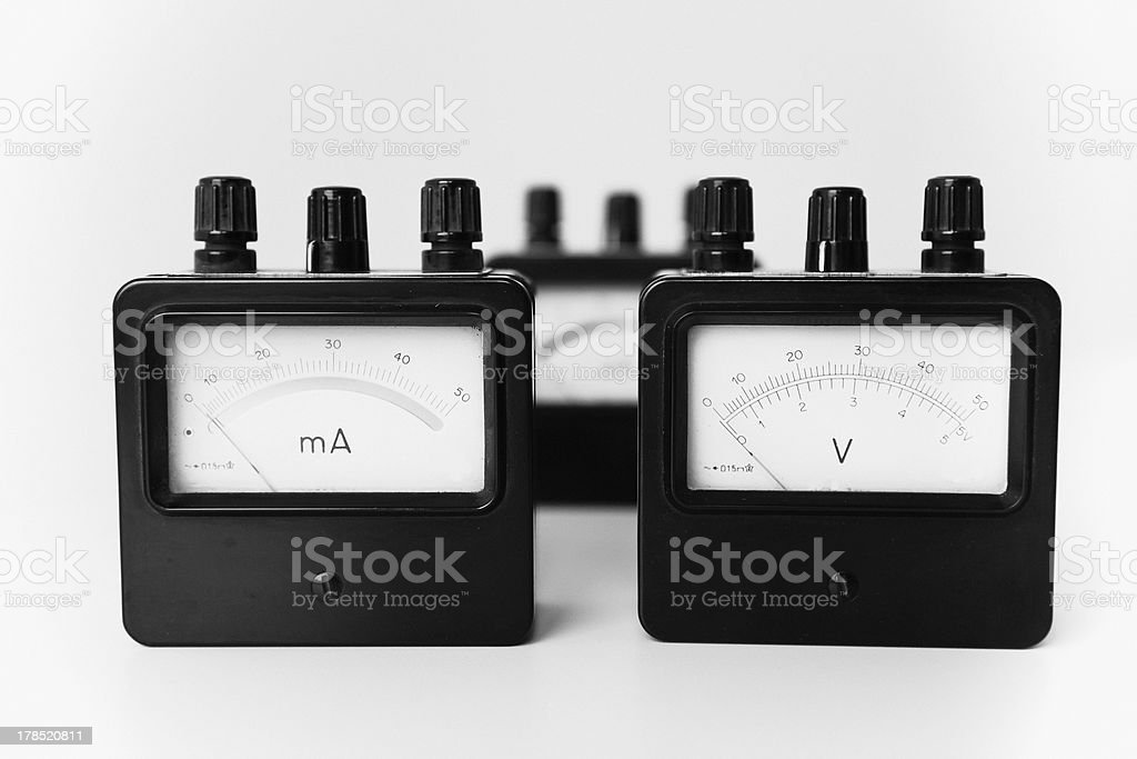 vintage voltage and current meter royalty-free stock photo