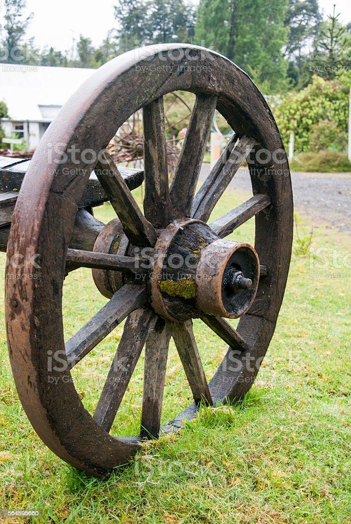 Vintage Wagon Wheel - Puerto Montt - Chile stock photo