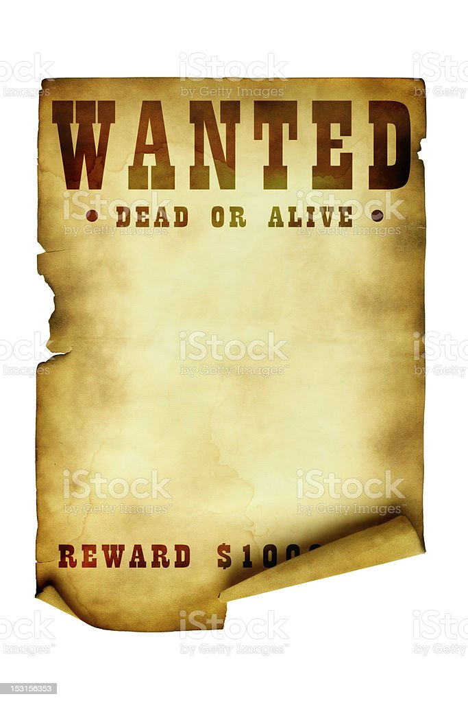 Vintage wanted poster royalty-free stock photo