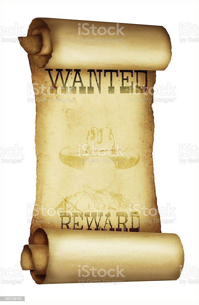 Vintage Wanted Poster Wild West royalty-free stock photo