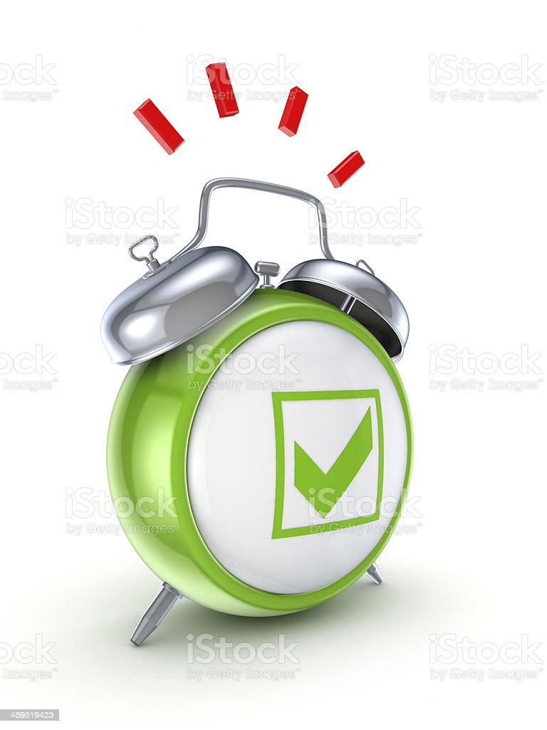 Vintage watch with a green tick mark. stock photo