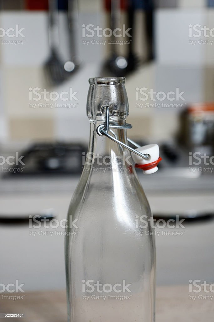 vintage water bottle with bottle cap stock photo
