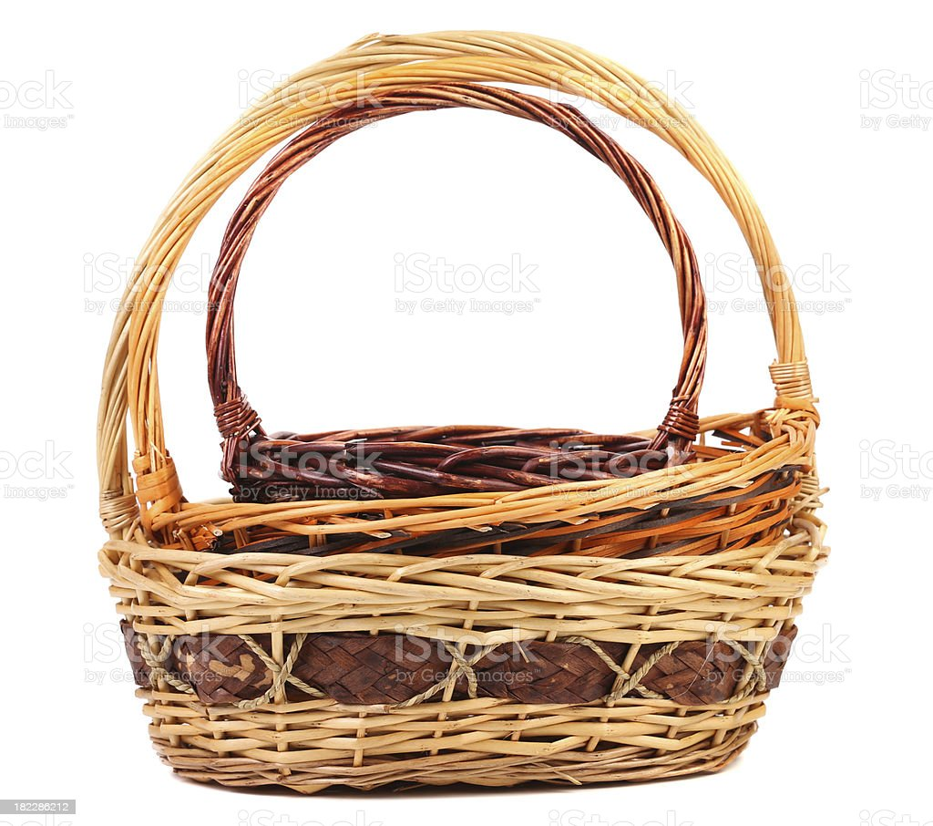Vintage weave wicker baskets royalty-free stock photo