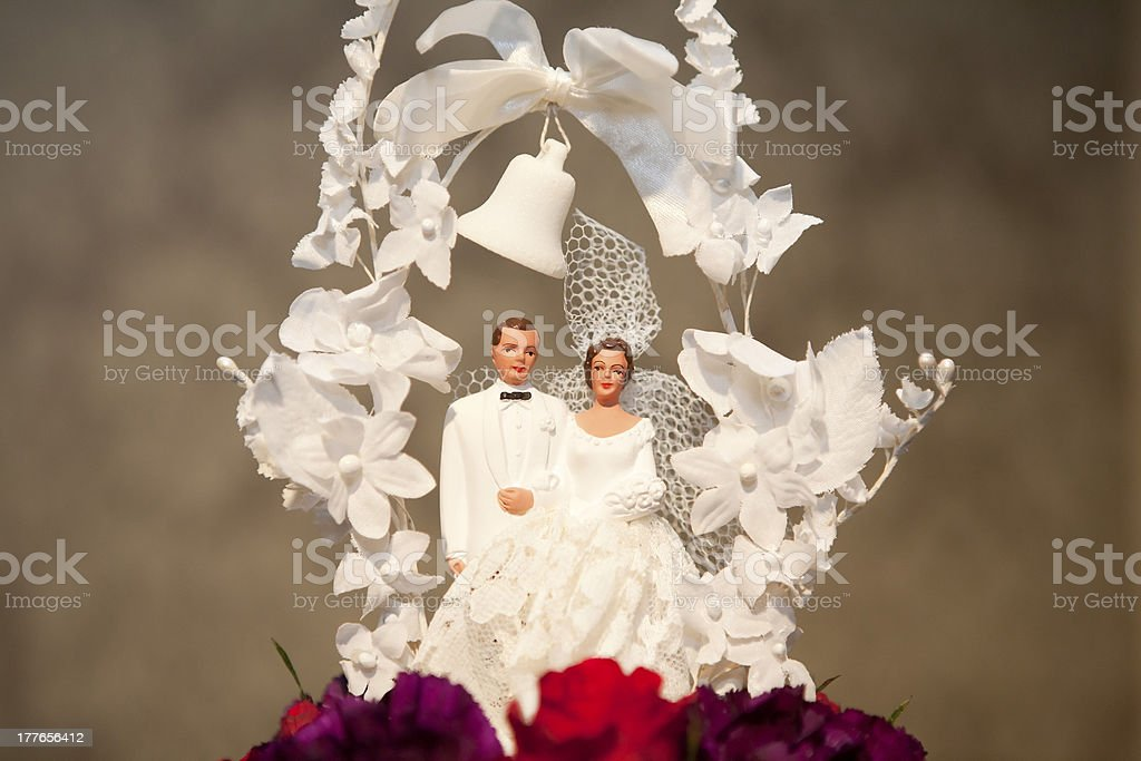 Vintage Wedding Cake Topper stock photo