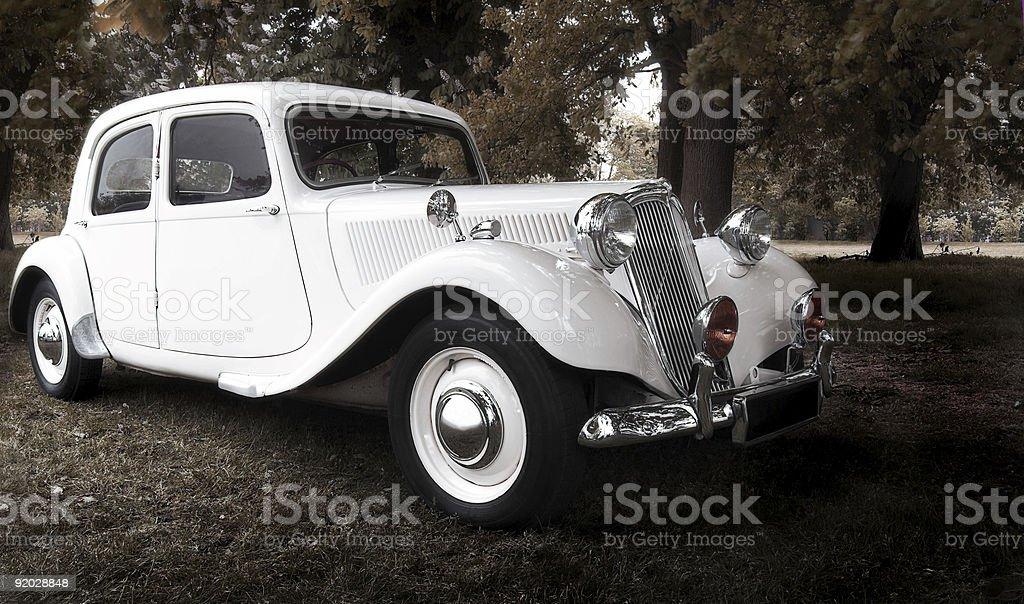 vintage wedding car stock photo