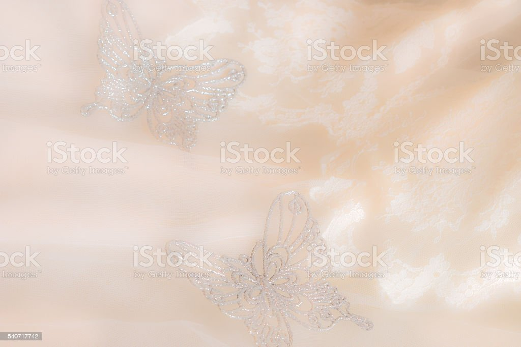 Vintage Wedding dress, butterflies,white lace close up (P) stock photo