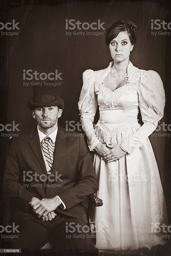 Vintage Wedding Portrait royalty-free stock photo