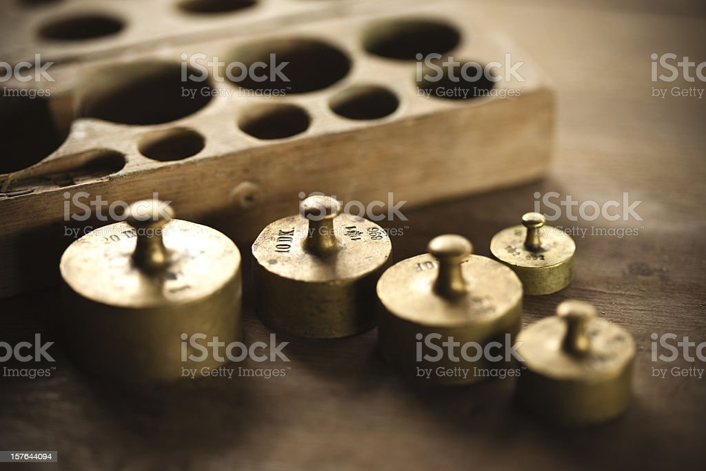 vintage weights stock photo