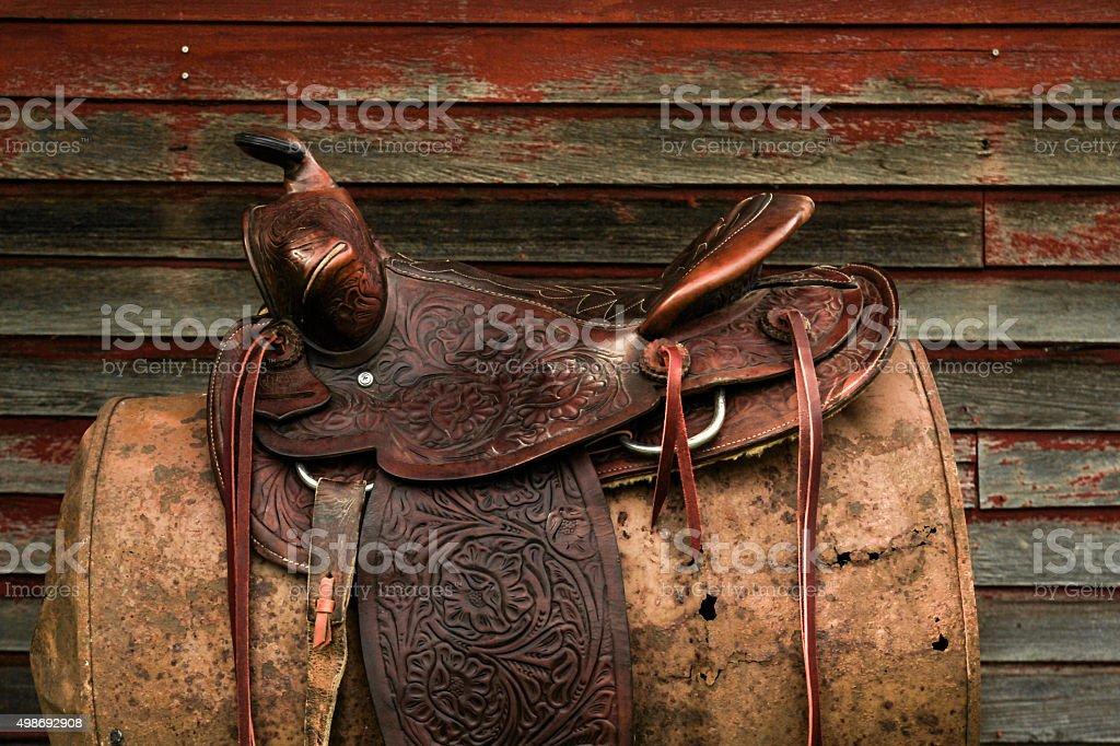 Vintage Western Leather Saddle stock photo